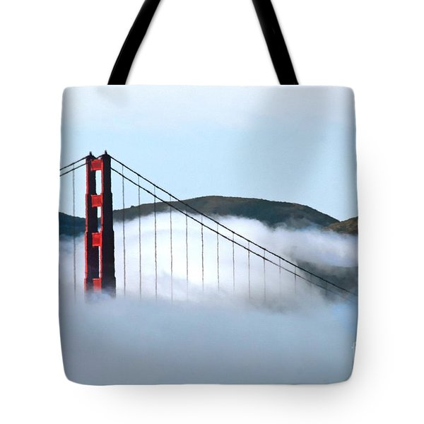 Golden Gate Bridge Clouds Tote Bag by Tap On Photo