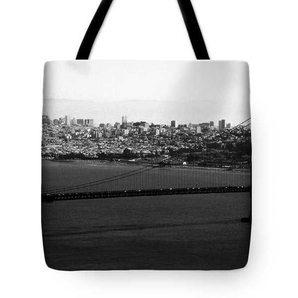 Golden Gate Bridge In Black And White Tote Bag by Linda Woods