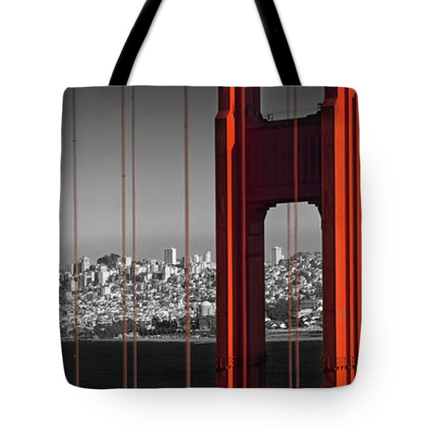 Golden Gate Bridge Panoramic Downtown View Tote Bag by Melanie Viola