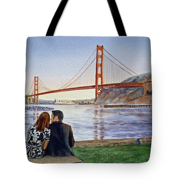 Golden Gate Bridge San Francisco - Two Love Birds Tote Bag by Irina Sztukowski