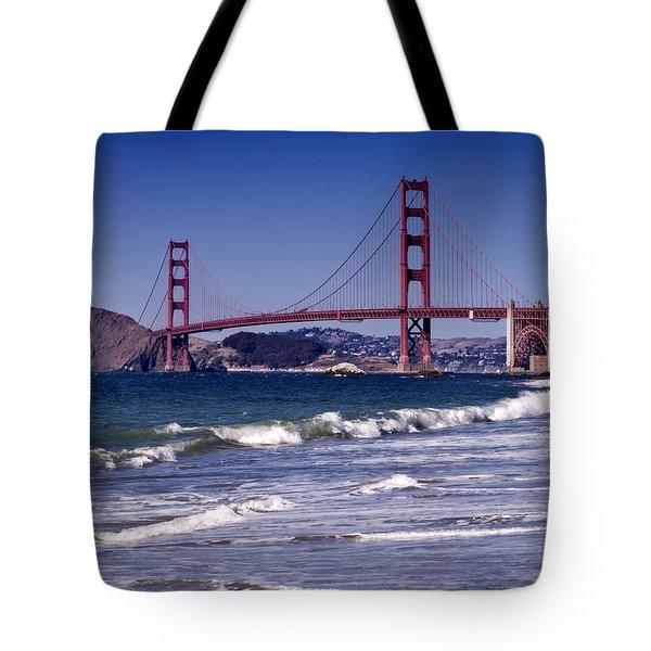 Golden Gate Bridge - Seen from Baker Beach Tote Bag by Melanie Viola