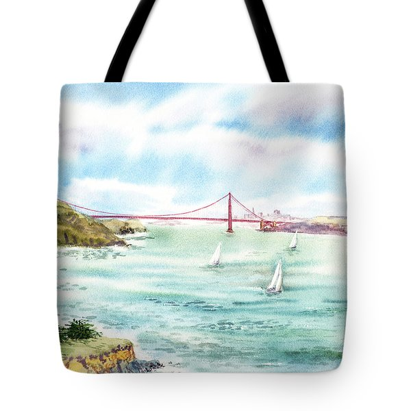 Golden Gate Bridge View From Point Bonita Tote Bag by Irina Sztukowski