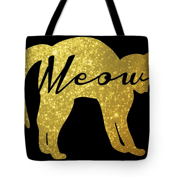 Golden Glitter Cat - Meow Tote Bag by Pati Photography