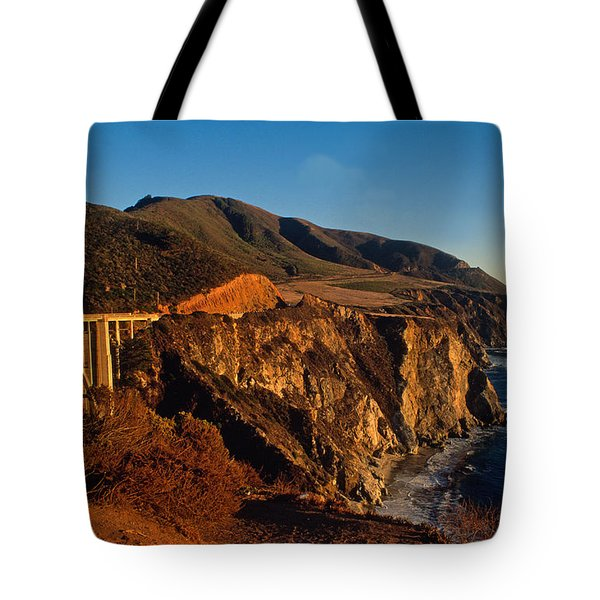 Golden Glow on Big Sur 2 Tote Bag by Kathy Yates