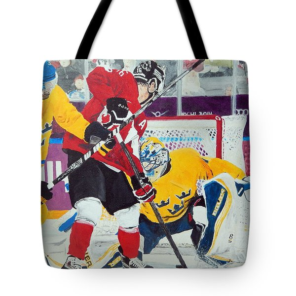 Golden Goal In Sochi Tote Bag by Betty-Anne McDonald
