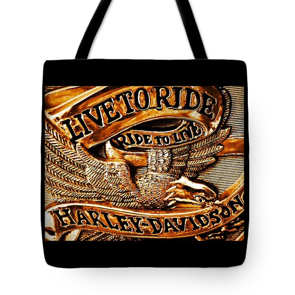 Golden Harley Davidson Logo Tote Bag by Chris Berry