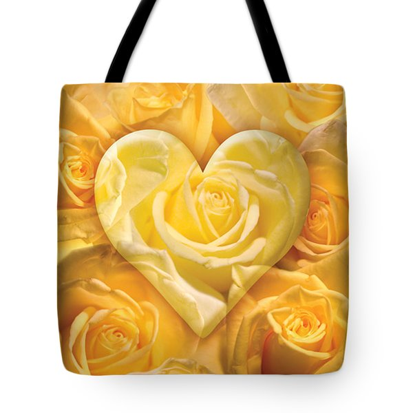Golden Heart Of Roses Tote Bag by Alixandra Mullins