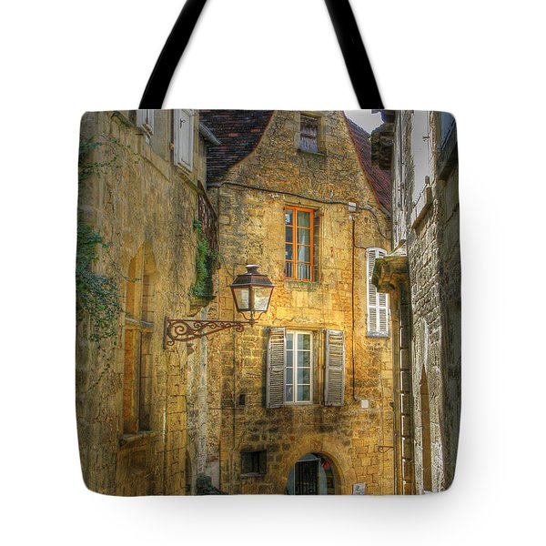 Golden Light In Sarlat Tote Bag by Douglas J Fisher