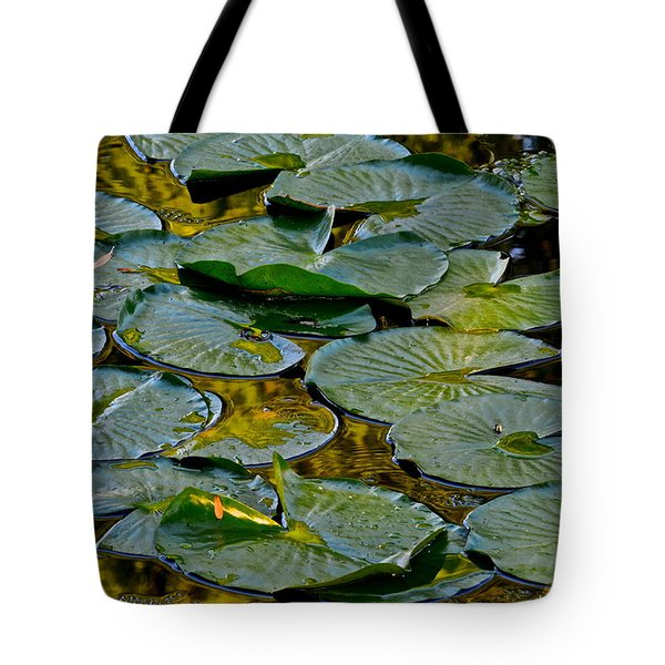 Golden Lilly Pads Tote Bag by Frozen in Time Fine Art Photography
