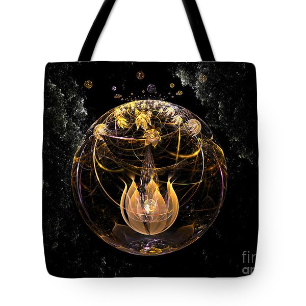 Golden Lotus In Deep Space Tote Bag by Peter R Nicholls
