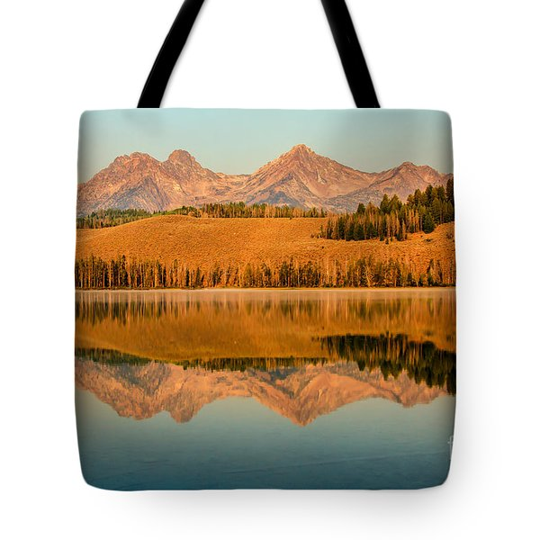 Golden Mountains  Reflection Tote Bag by Robert Bales