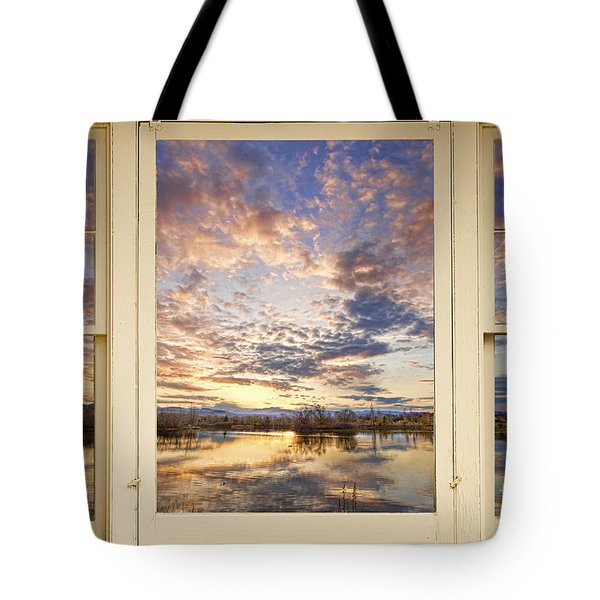 Golden Ponds Scenic Sunset Reflections 4 Yellow Window View Tote Bag by James BO  Insogna