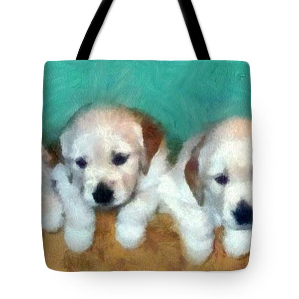 Golden Puppies Tote Bag by Michelle Calkins