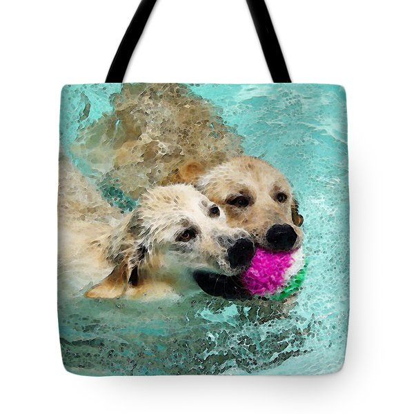 Golden Retriever Art - Let's Share Tote Bag by Sharon Cummings