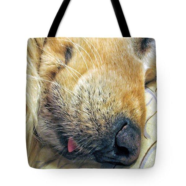Golden Retriever Dog Little Tongue Tote Bag by Jennie Marie Schell