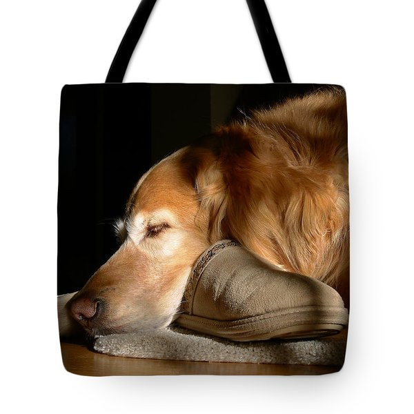 Golden Retriever Dog with Master's Slipper Tote Bag by Jennie Marie Schell