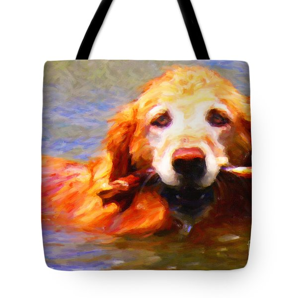 Golden Retriever - Painterly Tote Bag by Wingsdomain Art and Photography