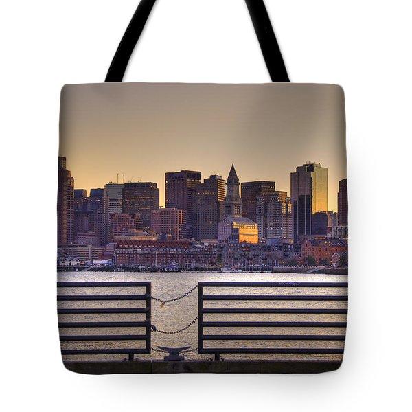 Golden Sunset Over Boston Tote Bag by Joann Vitali