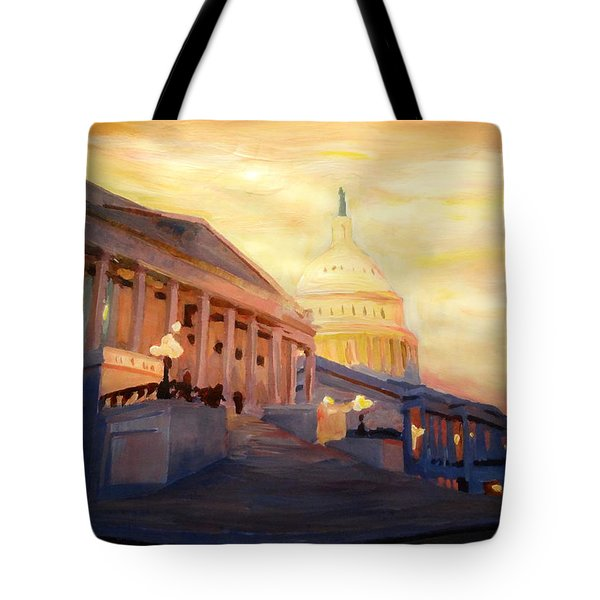 Golden United States Capitol In Washington D.c. Tote Bag by M Bleichner