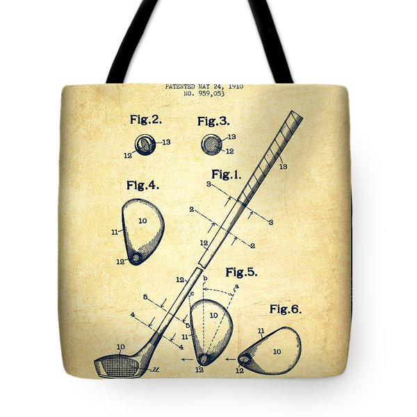 Golf Club Patent Drawing From 1910 - Vintage Tote Bag by Aged Pixel