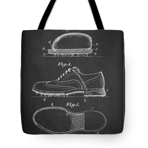 Golf Shoe Patent Drawing From 1931 Tote Bag by Aged Pixel