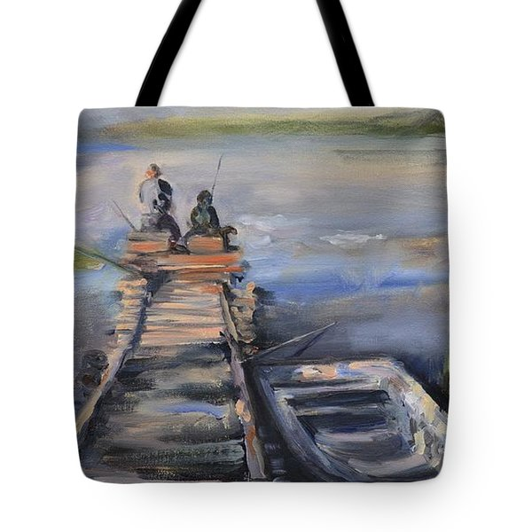Gone Fishin' Tote Bag by Donna Tuten