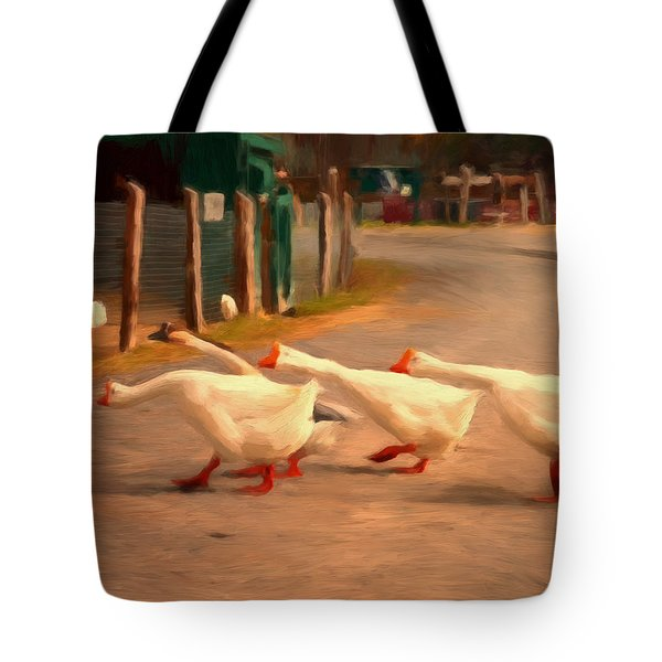 Goose Crossing Tote Bag by Michael Pickett