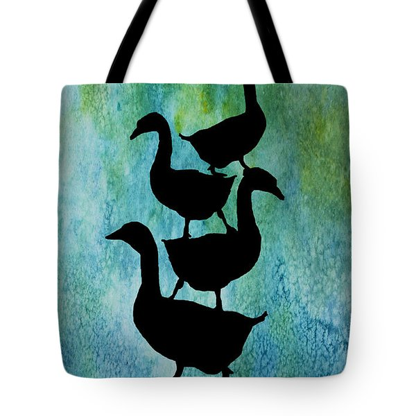 Goose Pile On Aqua Tote Bag by Jenny Armitage