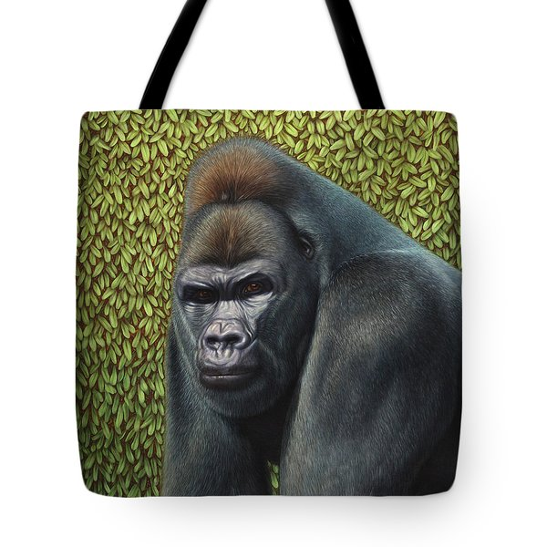 Gorilla With A Hedge Tote Bag by James W Johnson