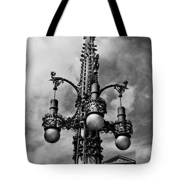 Gothic Lamp Post In Barcelona Tote Bag by Denise Dube