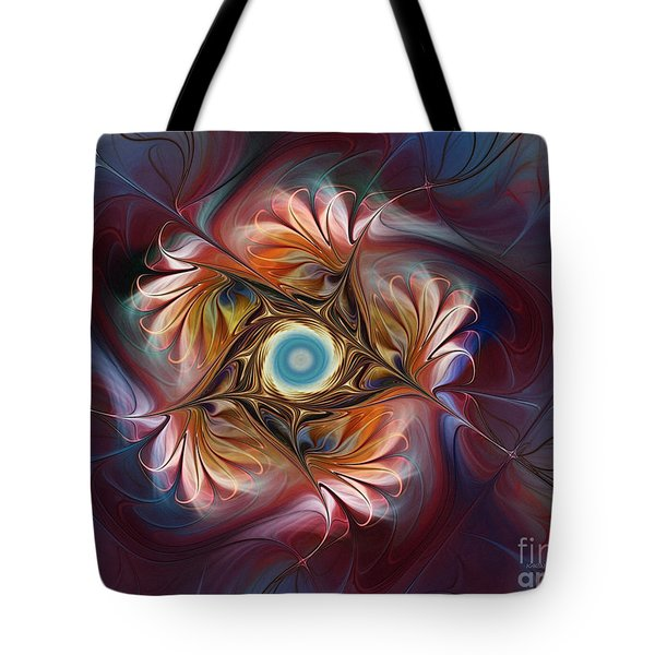 Grace And Elegance-floral Fractal Design Tote Bag by Karin Kuhlmann