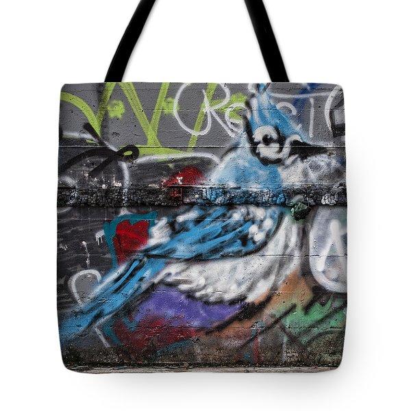 Graffiti Bluejay Tote Bag by Carol Leigh
