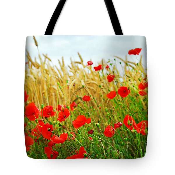 Grain and poppy field Tote Bag by Elena Elisseeva