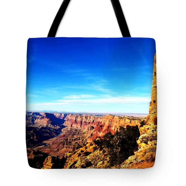 Grand Canyon National Park Mary Colter Designed Desert View Watchtower Vivid Tote Bag by Shawn O'Brien