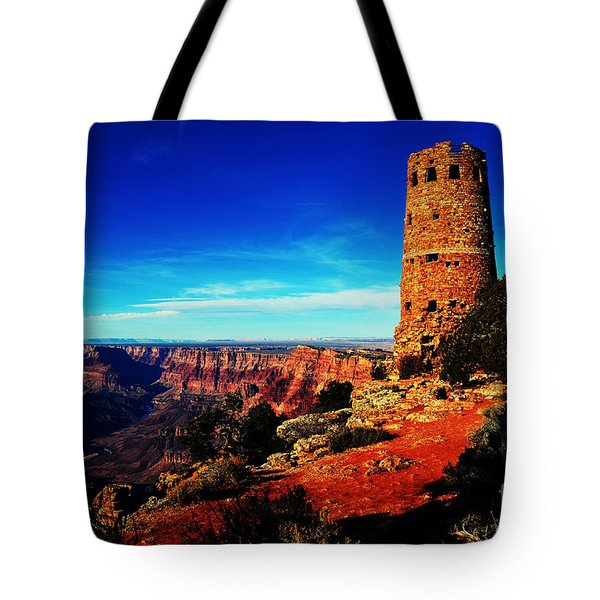 Grand Canyon National Park South Rim Mary Colter Designed Desert View Watchtower Vivid Tote Bag by Shawn O'Brien
