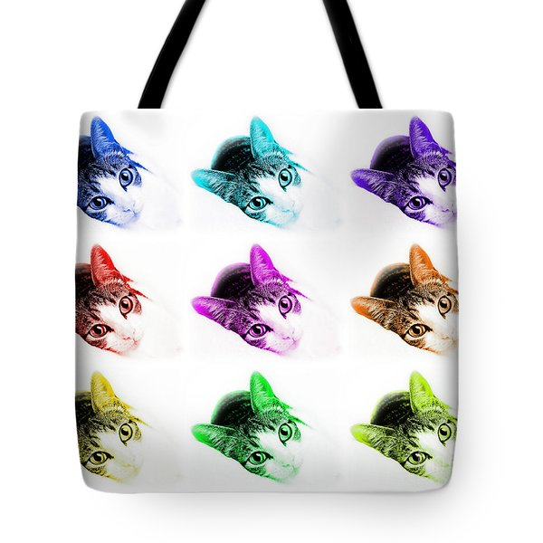 Grand Kitty Cuteness 3 Pop Art 9 Tote Bag by Andee Design