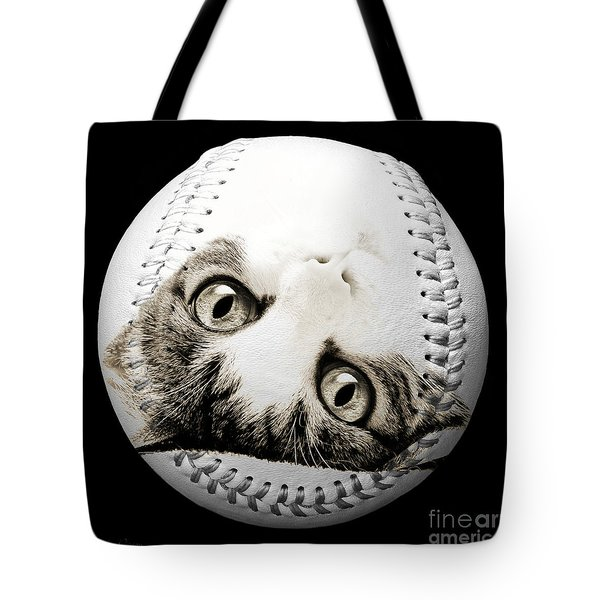 Grand Kitty Cuteness Baseball Square B W Tote Bag by Andee Design