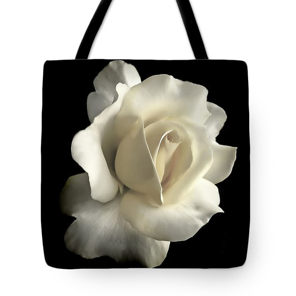 Grandeur Ivory Rose Flower Tote Bag by Jennie Marie Schell
