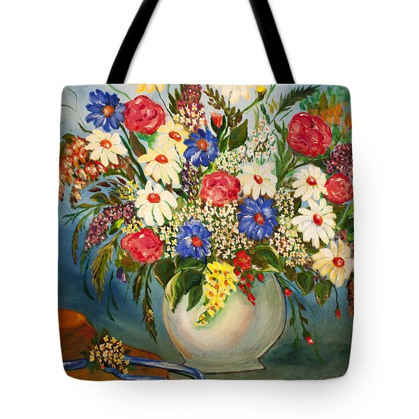 Grandma's Hat And Bouquet Tote Bag by Janice Rae Pariza