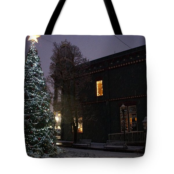 Grants Pass Town Center Christmas Tree Tote Bag by Mick Anderson