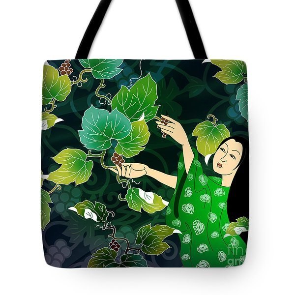 Grape Picking Tote Bag by Bedros Awak