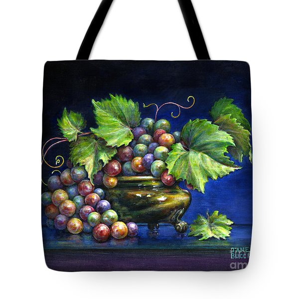 Grapes in a Footed Bowl Tote Bag by Jane Bucci
