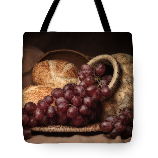 Grapes With Bread Still Life Tote Bag by Tom Mc Nemar