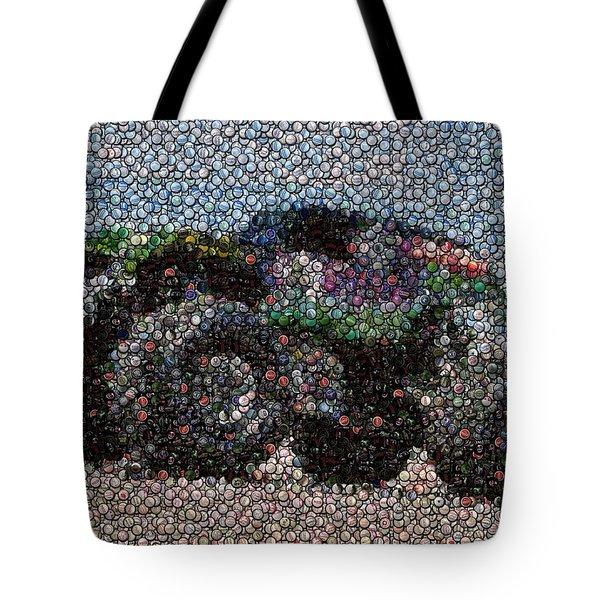Grave Digger Bottle Cap Mosaic Tote Bag by Paul Van Scott