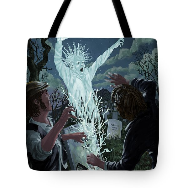 graveyard digger ghost rising from grave Tote Bag by Martin Davey