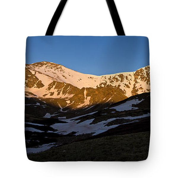 Grays Peak And Torreys Peak Panorama Tote Bag by Benjamin Reed