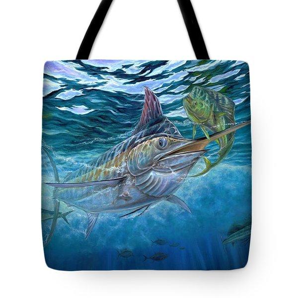 Great Blue And Mahi Mahi Underwater Tote Bag by Terry Fox