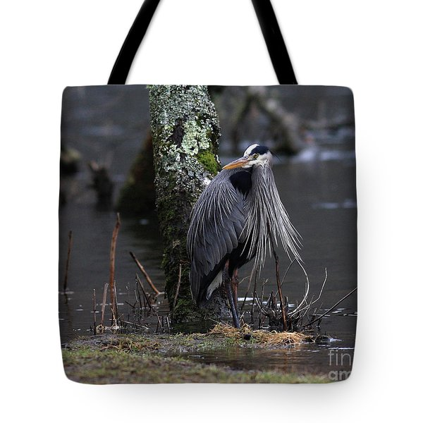 Great Blue Heron On The Clinch River Tote Bag by Douglas Stucky