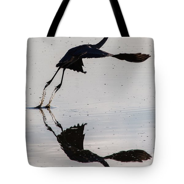 Great Blue Heron Takeoff Tote Bag by John Daly