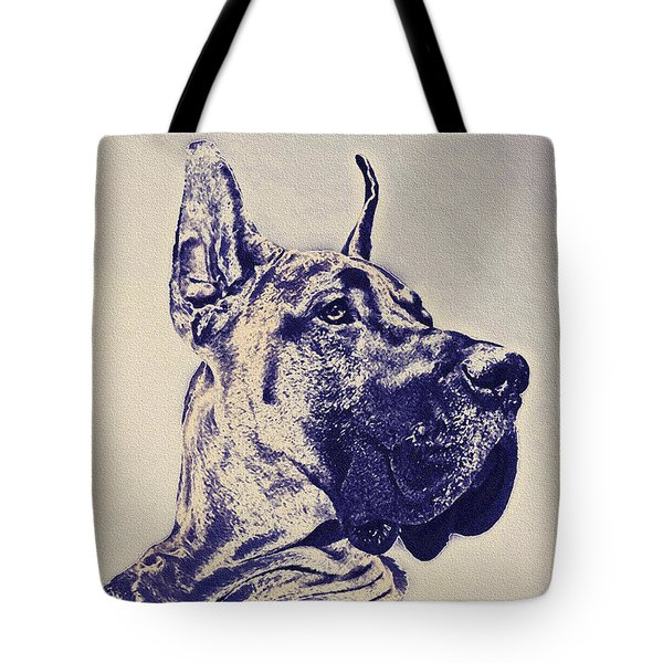 great dane- blue sketch Tote Bag by Jane Schnetlage